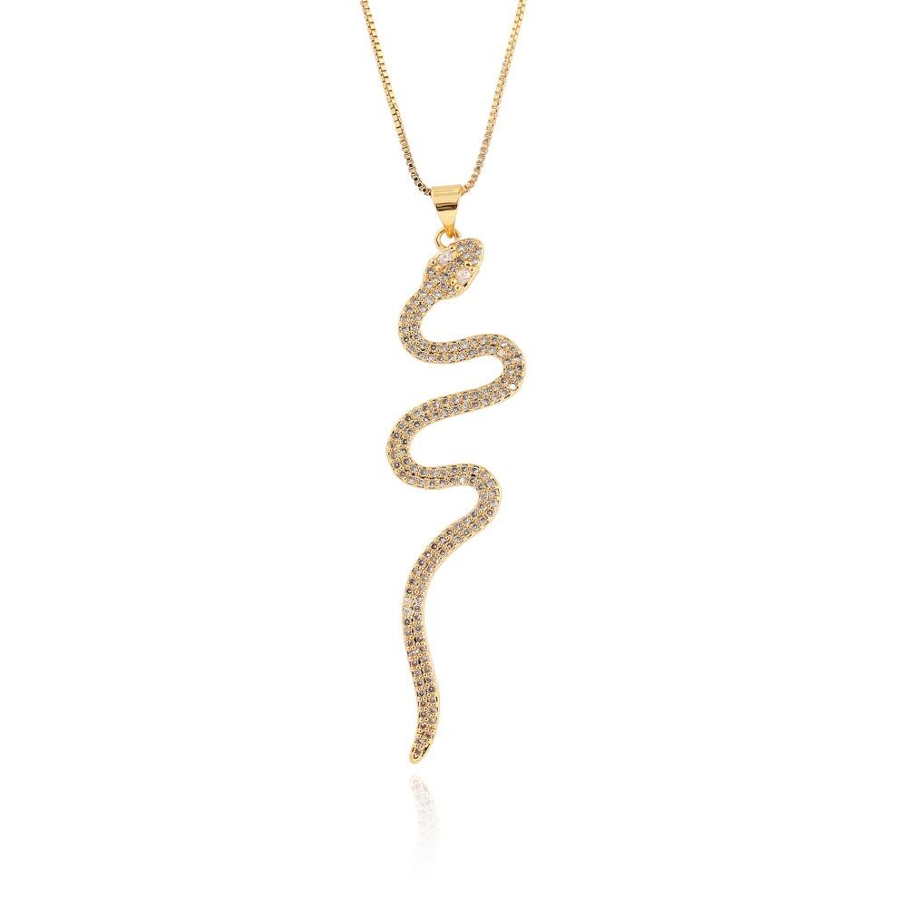 Colar Pingente Snake Folheado Ouro 18K Micro Zircônia Cristal Grande