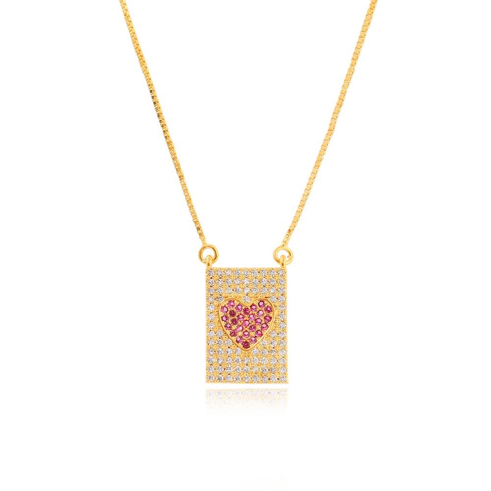 Colar Placa Retangular com Coração Micro Zirconia Folheado Ouro 18K