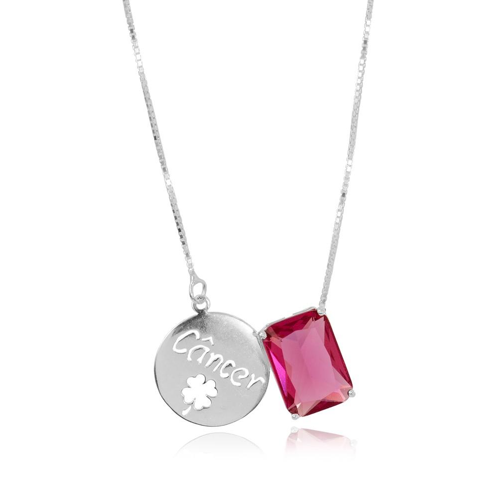 Colar Prata 925 com Placa de Signo Câncer  com Cristal Rosa