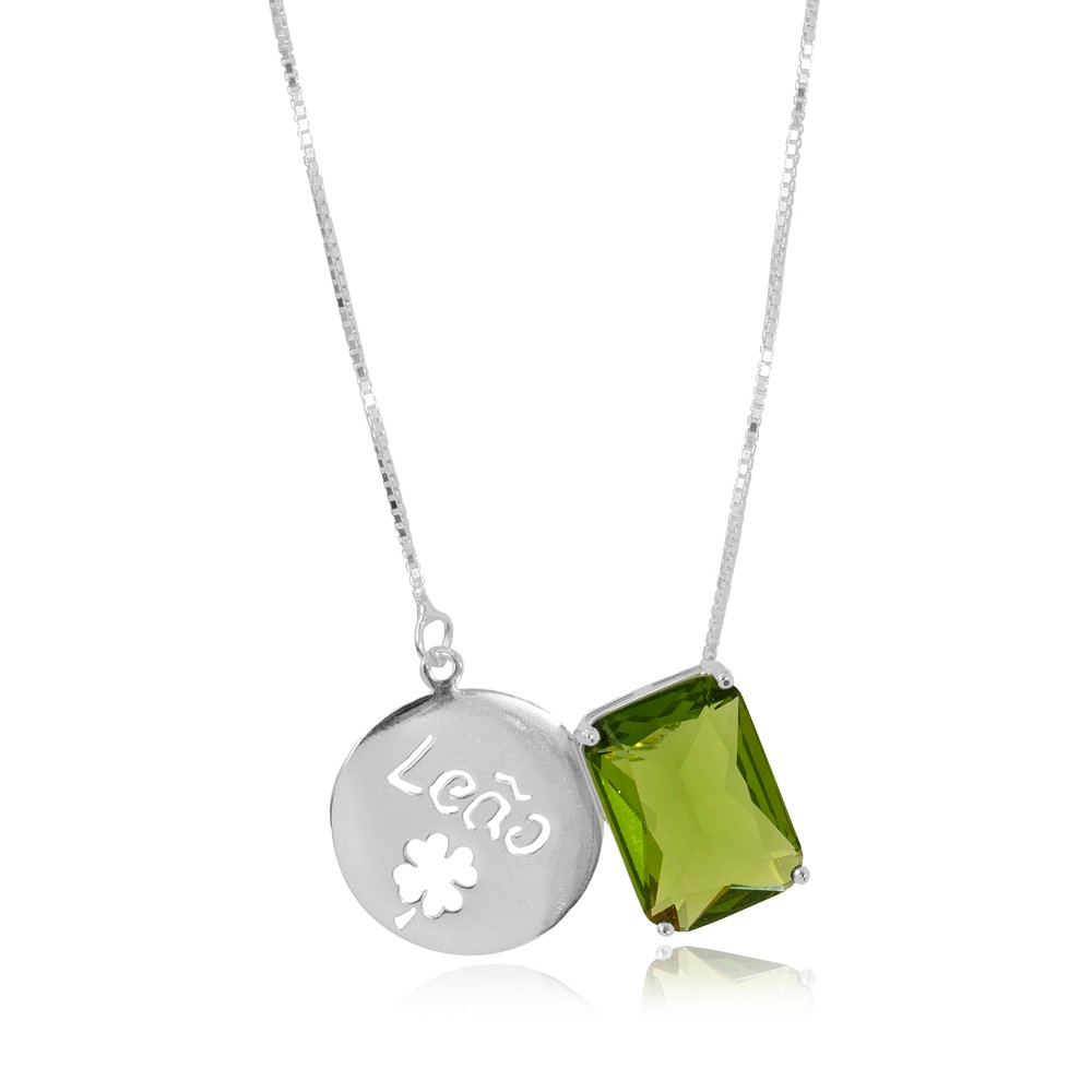 Colar Prata 925 com Placa de Signo Leão  com Cristal Verde