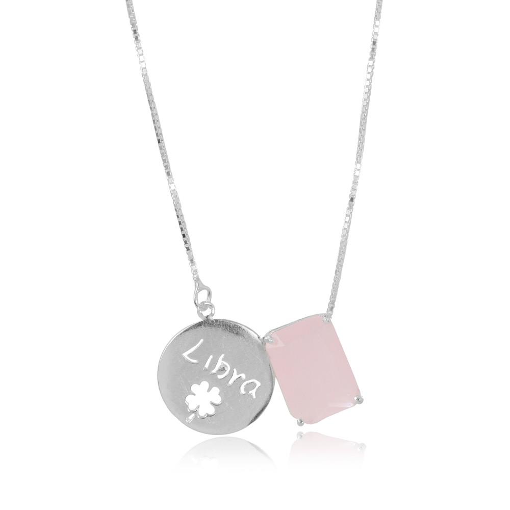 Colar Prata 925 com Placa de Signo Libra com Cristal Rosa Leitoso