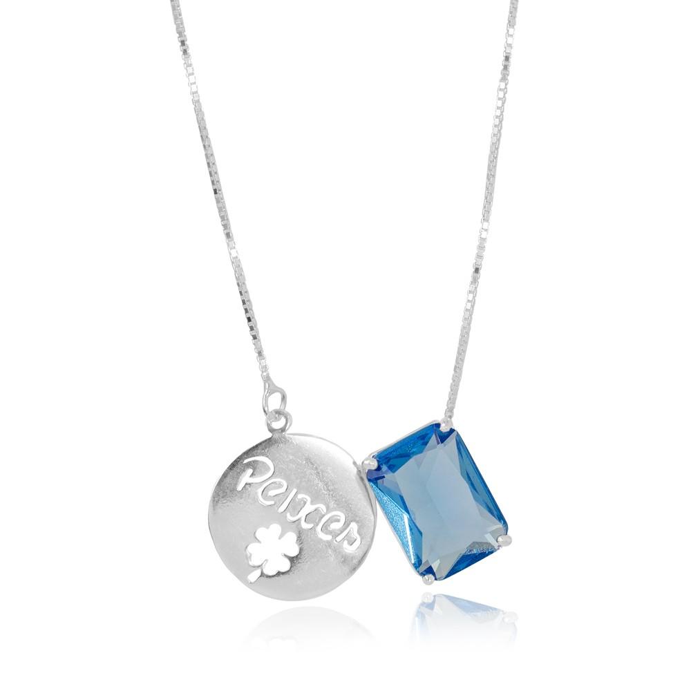 Colar Prata 925 com Placa de Signo Peixes  com Cristal Azul