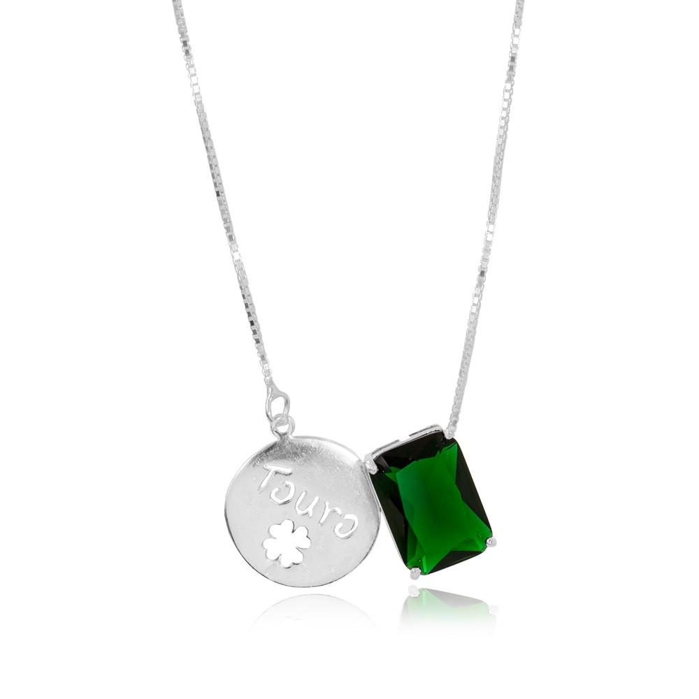 Colar Prata 925 com Placa de Signo Touro  com Cristal Esmeralda