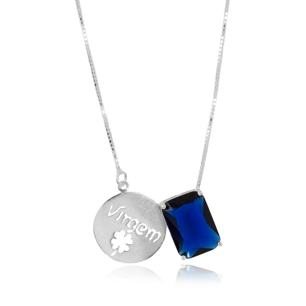 Colar Prata 925 com Placa de Signo Virgem  com Cristal Azul Marinho