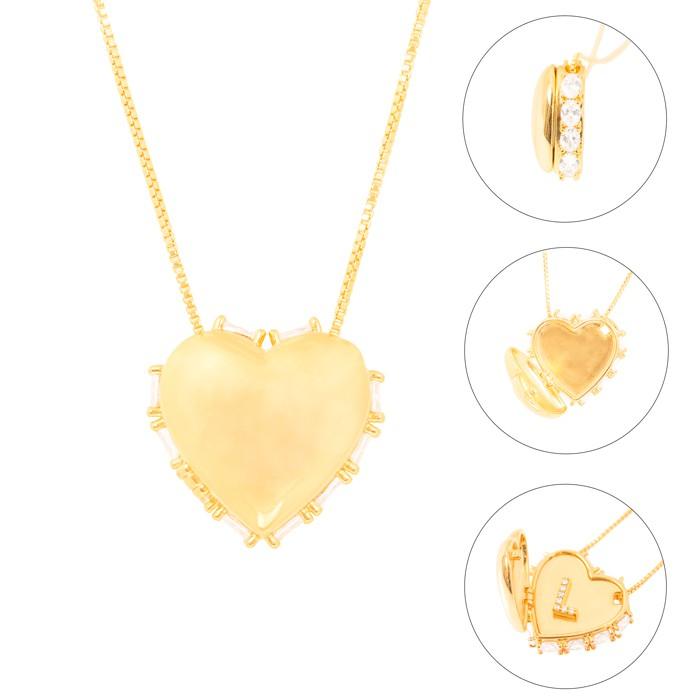 Colar Relicário Folheado Ouro 18K Coração com Micro Zircônia Cristal Oval ao Redor