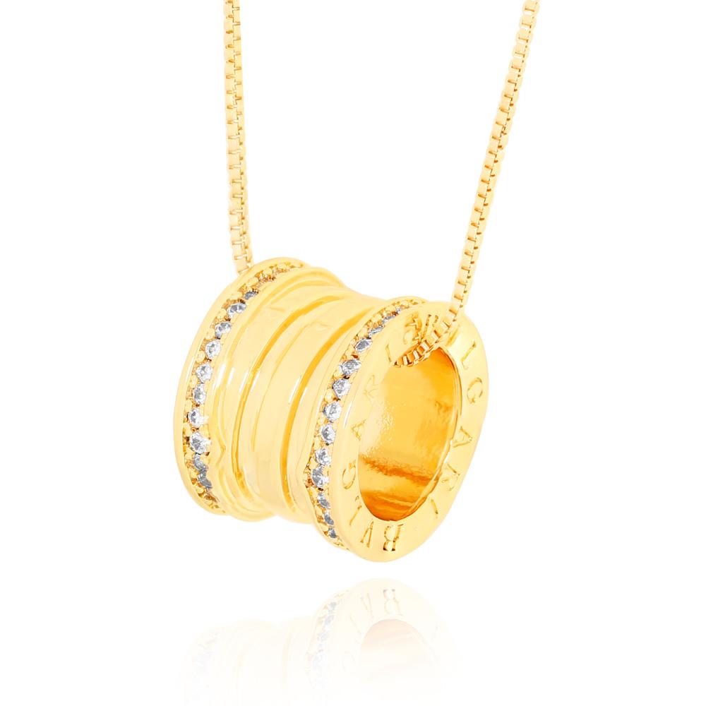 Colar Inspired com Microzircônias Semijoia Ouro 18K