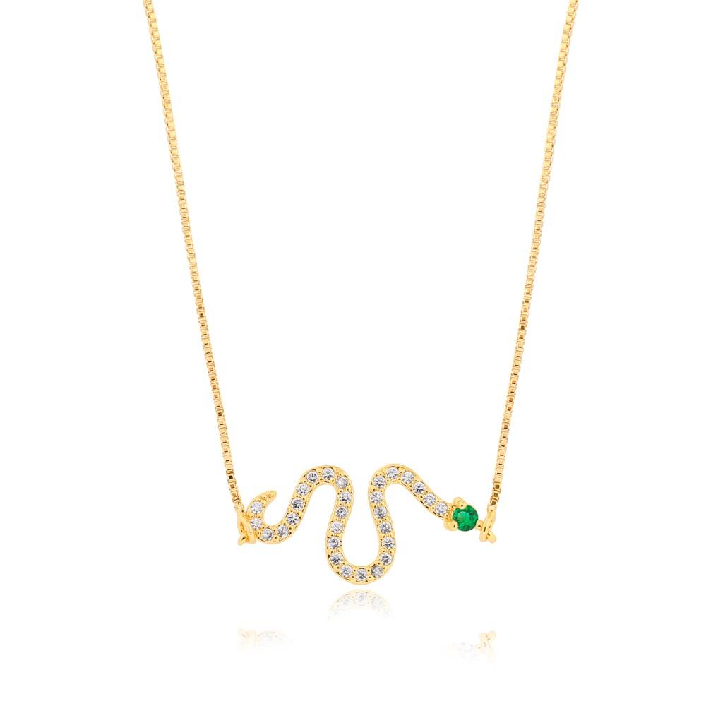 Colar Snake Folheado Ouro 18K com Detalhes Verde