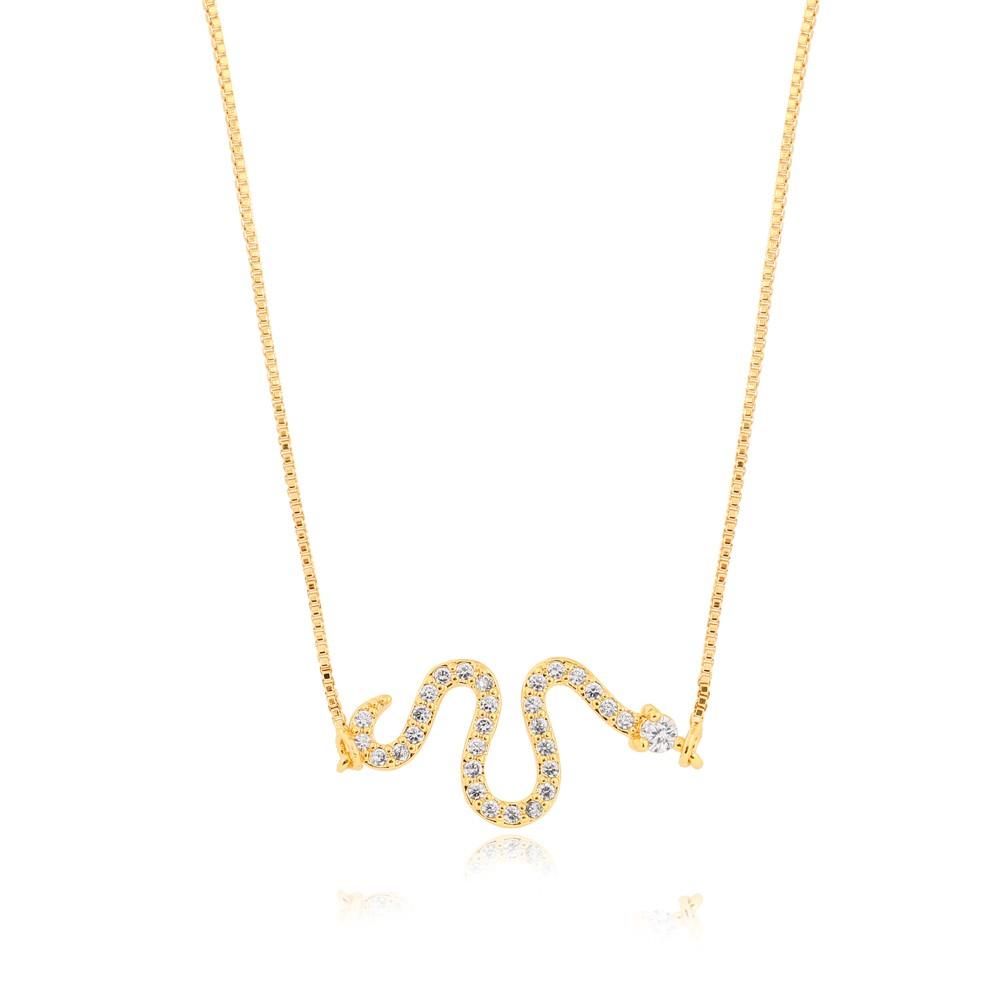 Colar Snake Folheado Ouro 18K com MIcro ZIrcônia Cristal