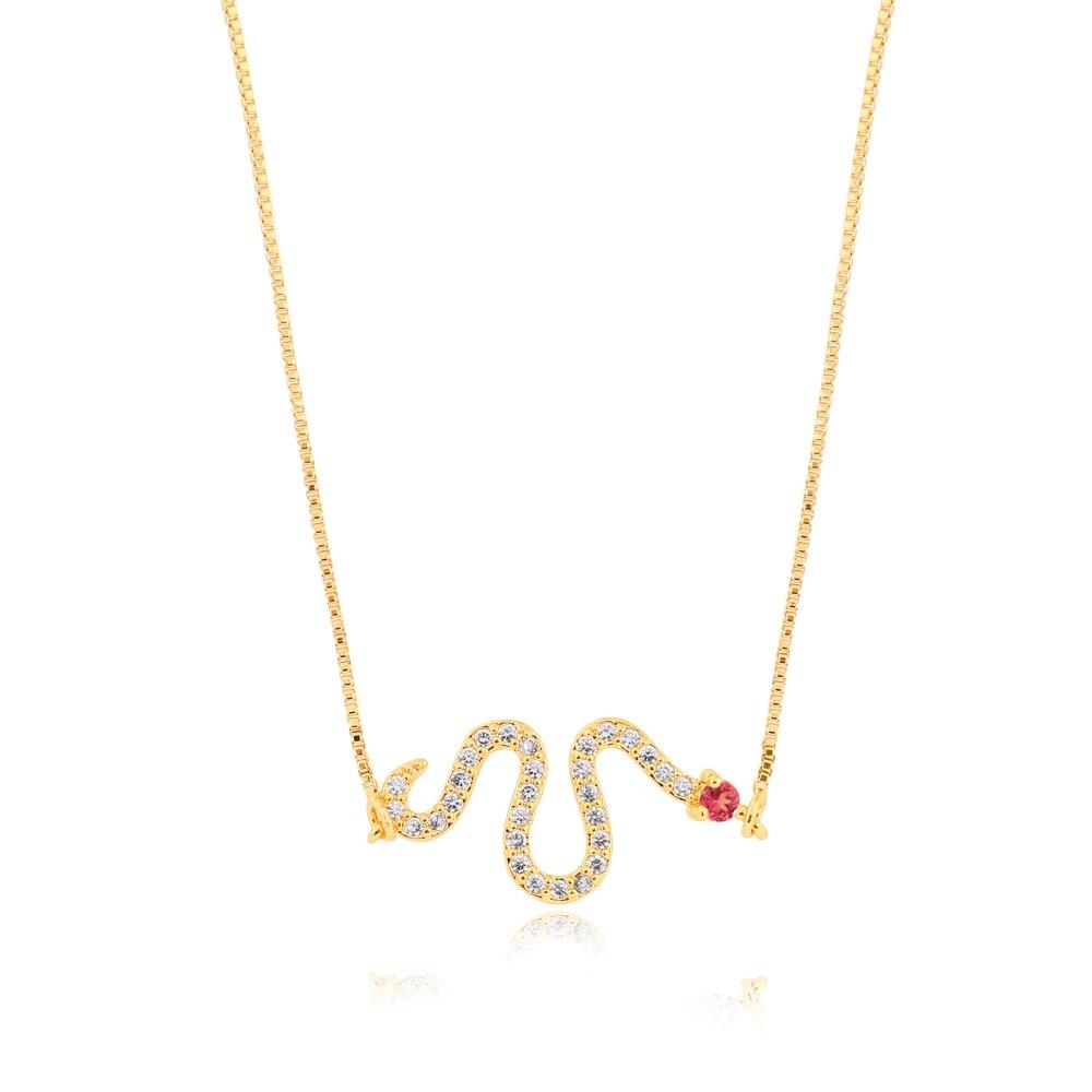 Colar Snake Folheado Ouro 18K Micro Zircônia Detalhes Pink
