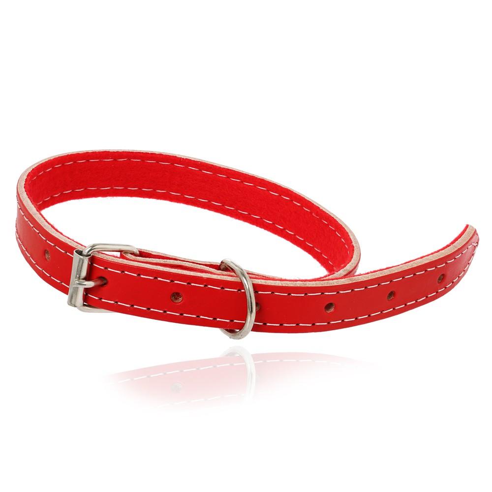 Coleira Cachorro de Couro Vermelha G