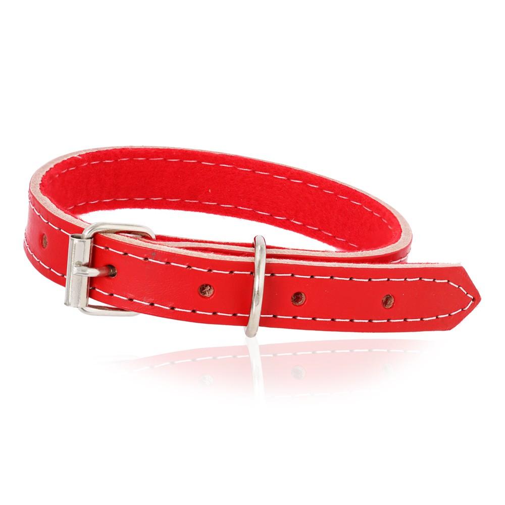 Coleira Cachorro de Couro Vermelha M