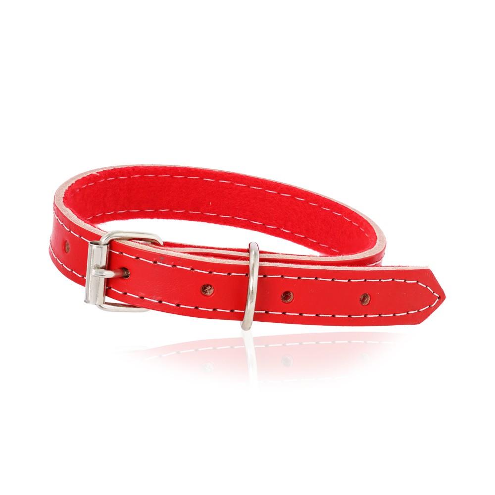 Coleira Cachorro de Couro Vermelha P
