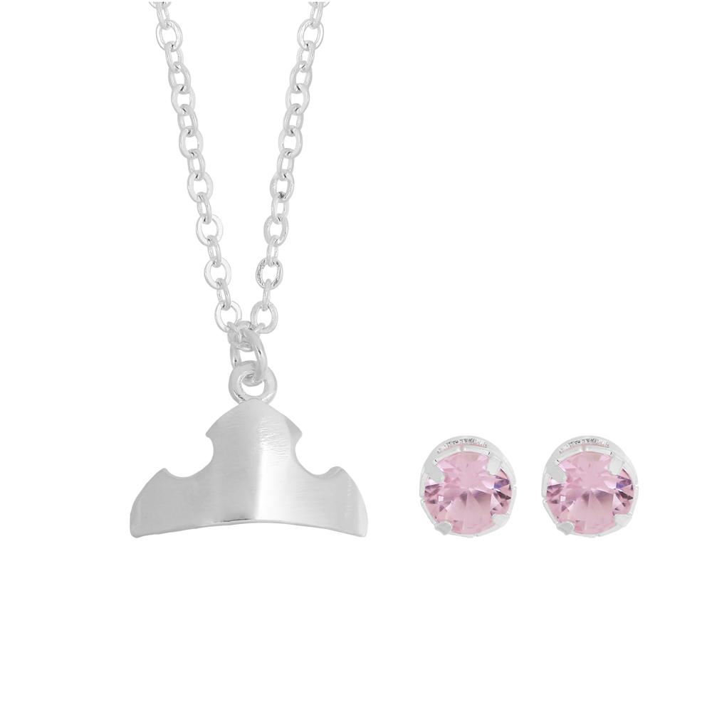 Conjunto Aurora Zircônia Rosa e Colar com Pingente Coroa Banhada a Prata