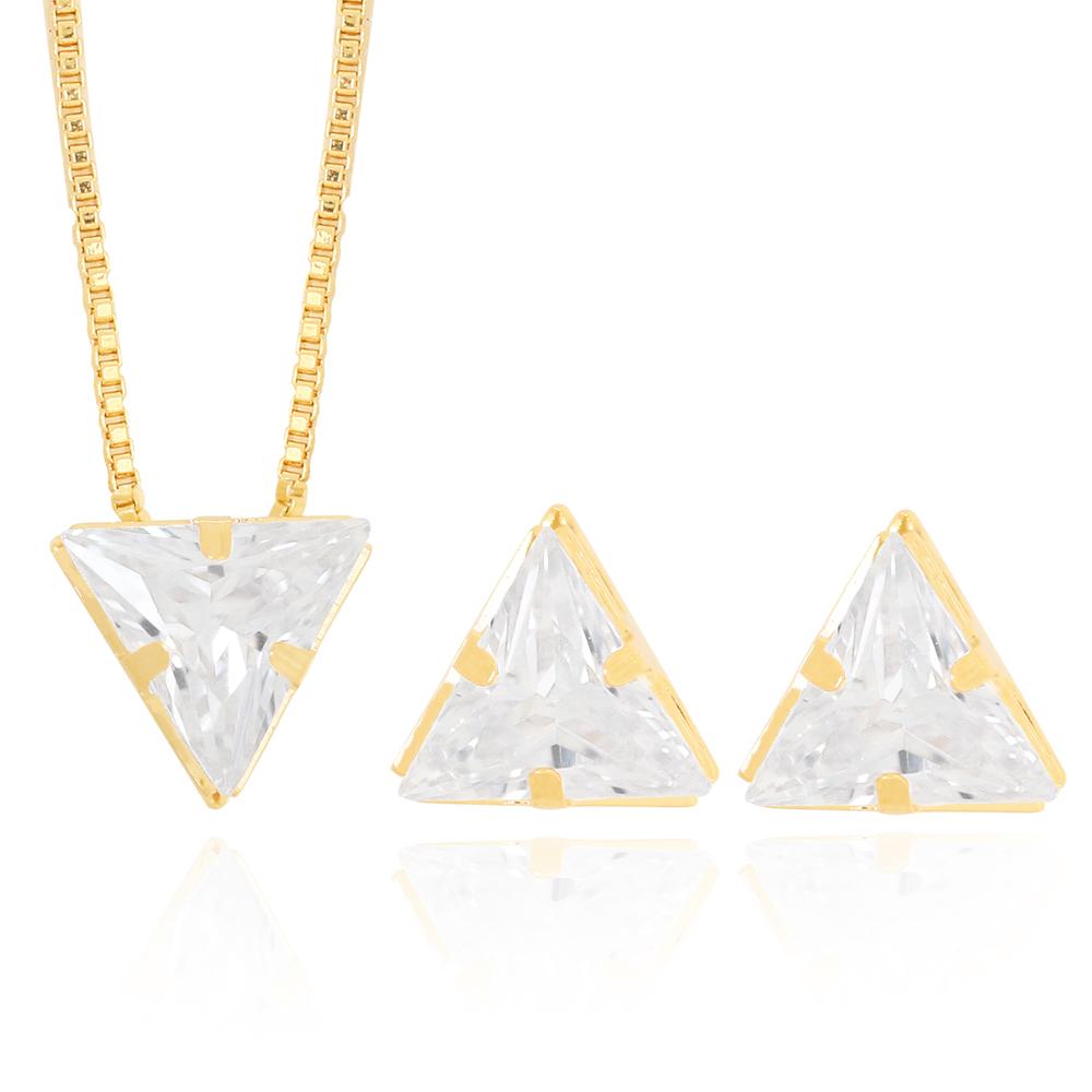 Conjunto Brinco e Colar Zircônia Triangular Semijoia Ouro 18K