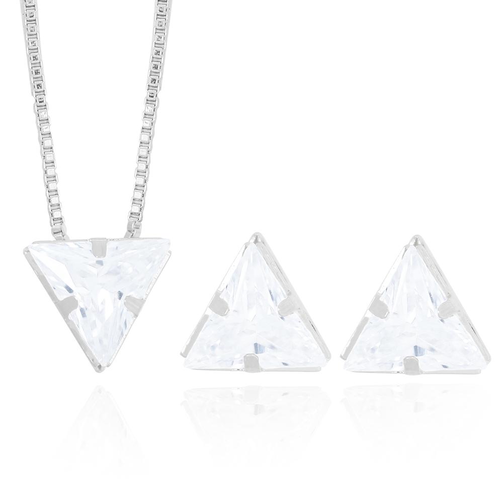 Conjunto Brinco e Colar Zircônia Triangular Semijoia Ródio Branco
