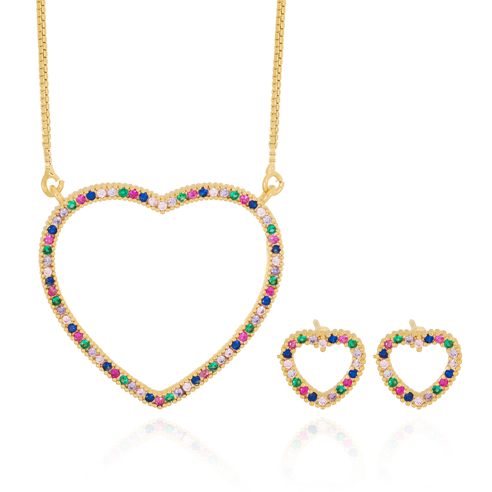 Conjunto Coração com Zircônias Azul Ametista Rosa e Esmeralda Semijoia Ouro 18K