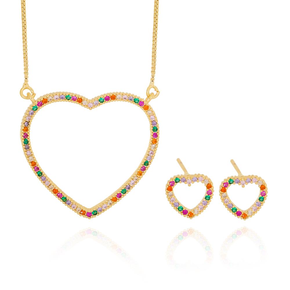 Conjunto Coração com Zircônias Laranja Rosa Esmeralda Cristal Semijoia Ouro 18K