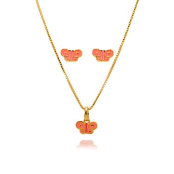 Conjunto Infantil Folheado Ouro 18K Borboleta com Resina Rosa