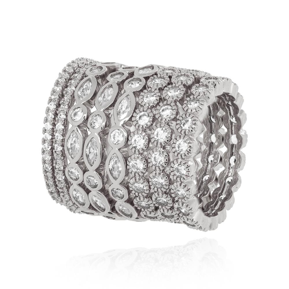 Conjunto Oito Anéis Detalhados com Micro Zircônia Folheado Ródio