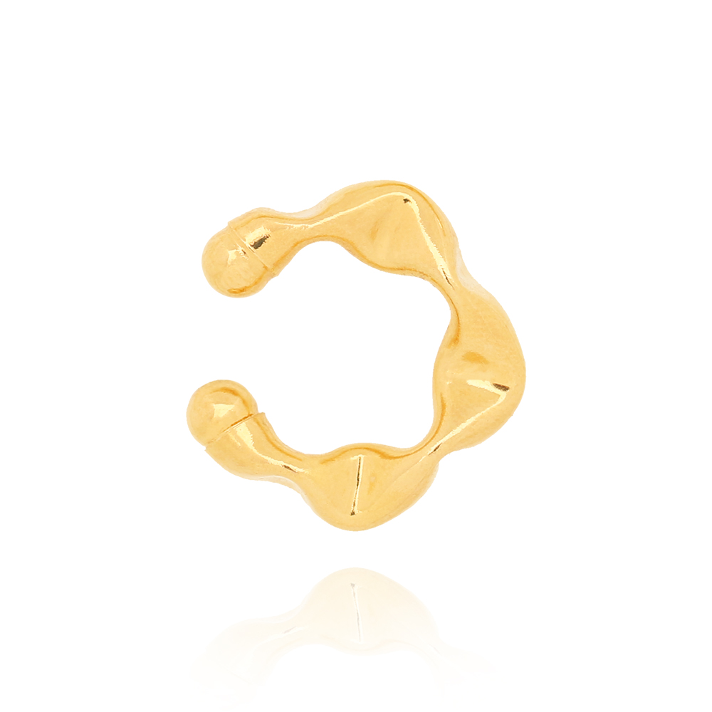 Piercing Fake Amassados Pequeno Folheado Ouro 18K