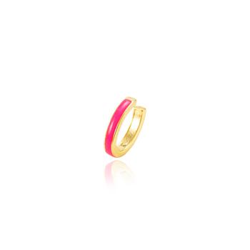 Piercing Fake Folheado Ouro 18K Oval com Resina Pink
