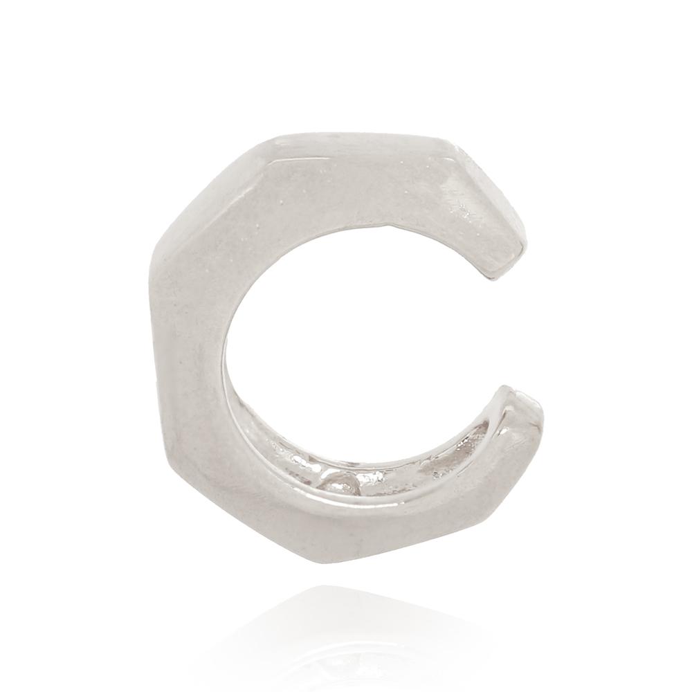 Piercing Fake Geométrico Liso Semijoia Ródio Branco