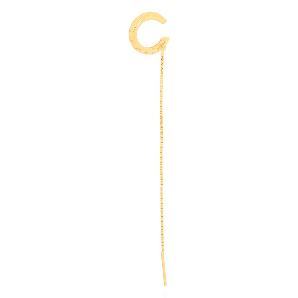 Piercing Fake Movimentos com Detalhes e Corrente Semijoia Ouro 18K
