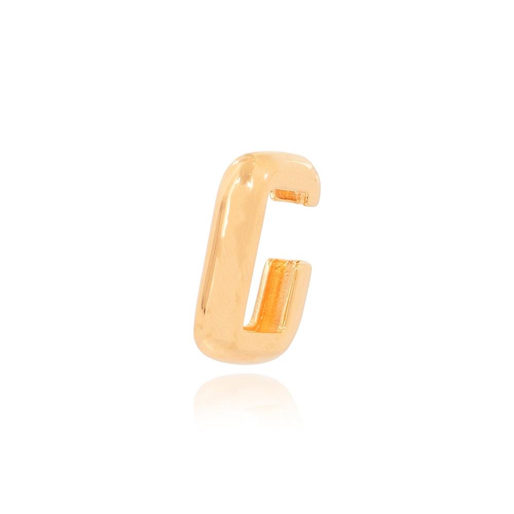Piercing Fake Retangular Folheado Ouro 18K Grosso Liso