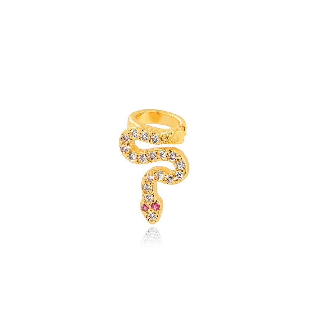 Piercing Fake Snake Folheado Ouro 18K Micro Zircônia Detalhe Pink