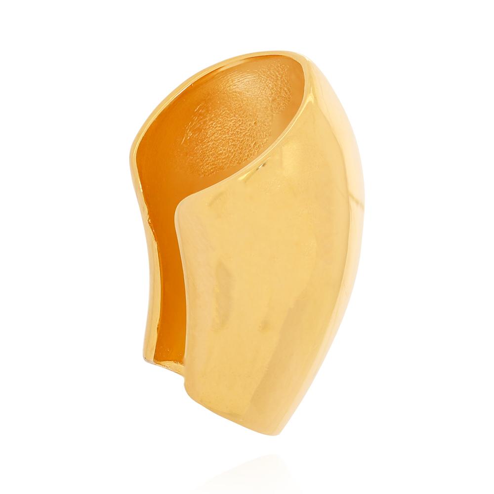 Piercing Fake Tipo Concha Grande Liso Semijoia Ouro 18K