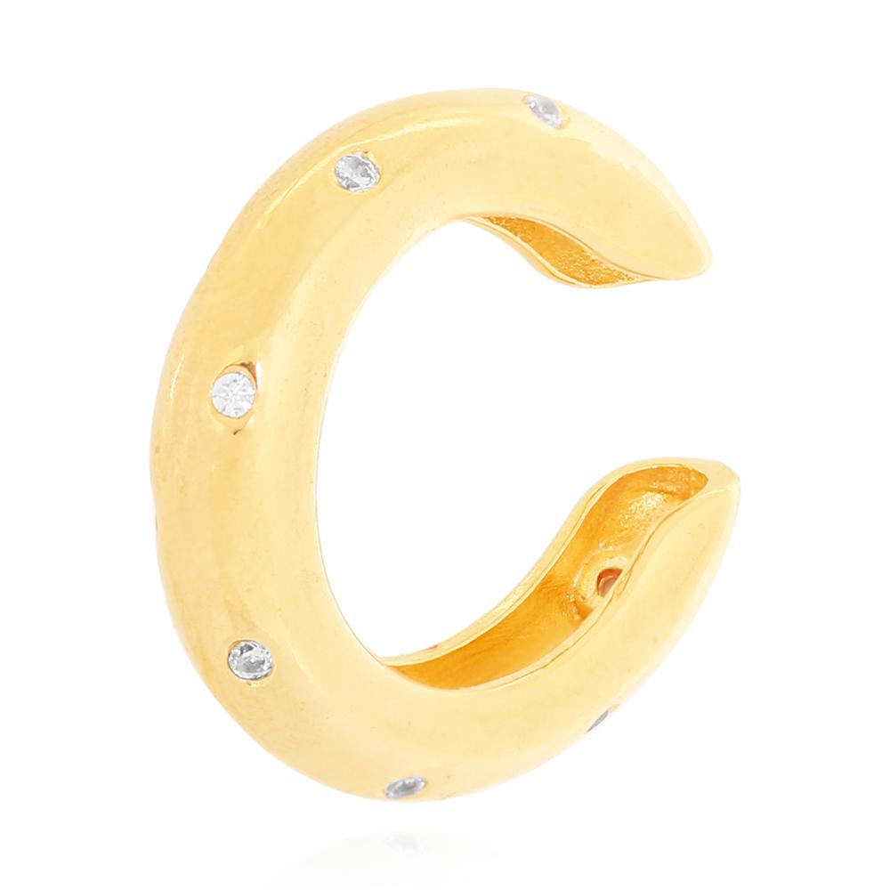 Piercing Fake Tubo Liso com Zircônias Cristal Semijoia Ouro 18K