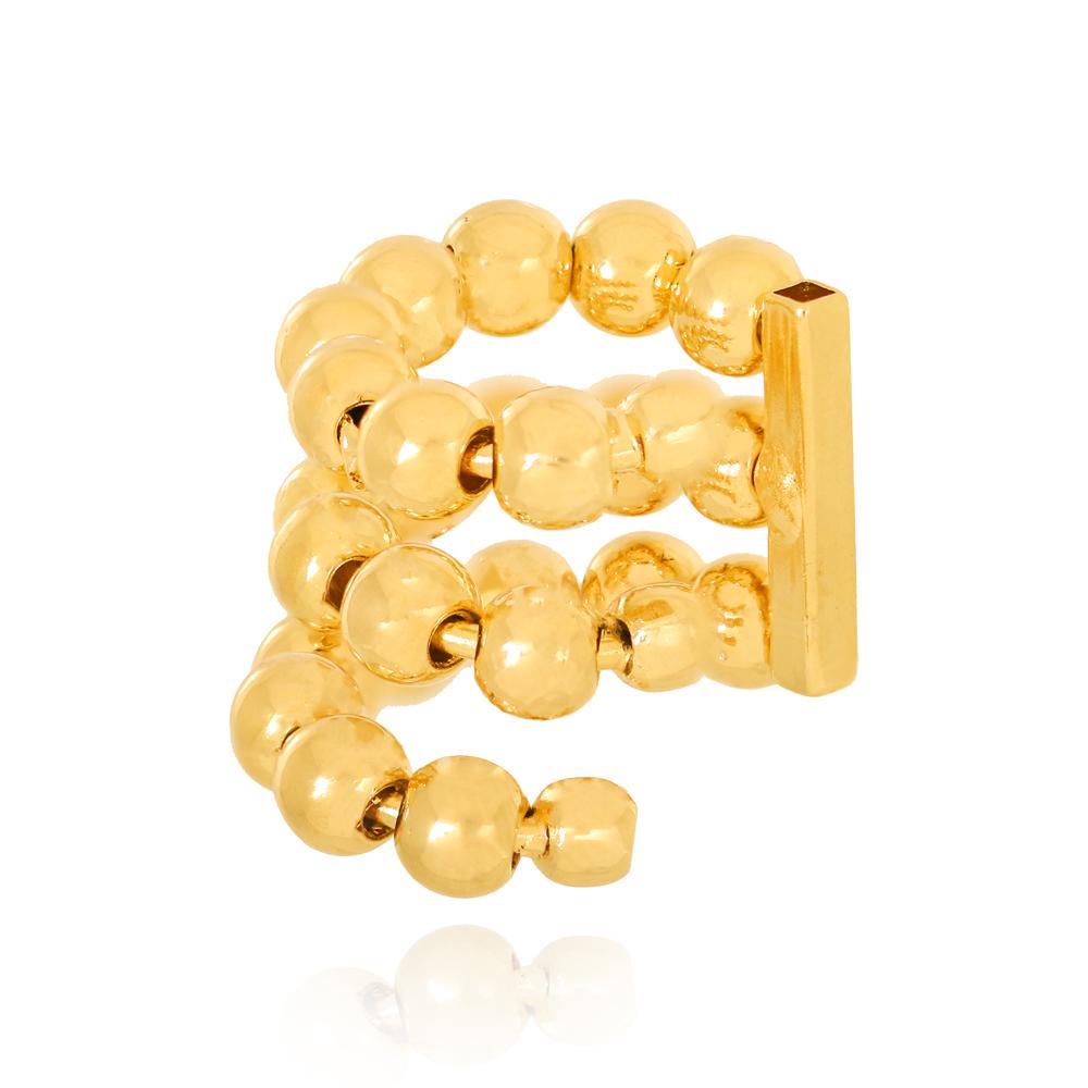Piercing Três Fileiras ABS Semijoia Ouro 18K