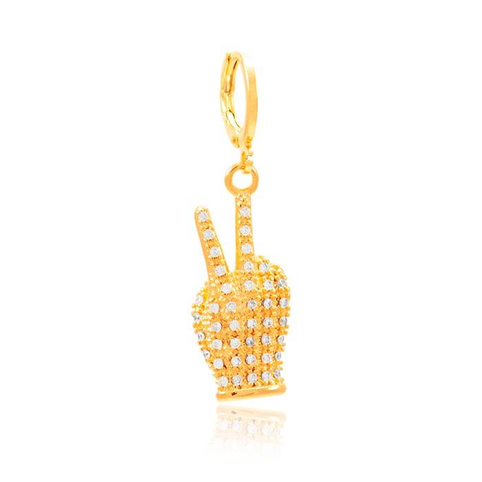 Pingente Clip Folheado Ouro 18K Mão com Símbolo Paz e Amor Micro Zircônia Cristal