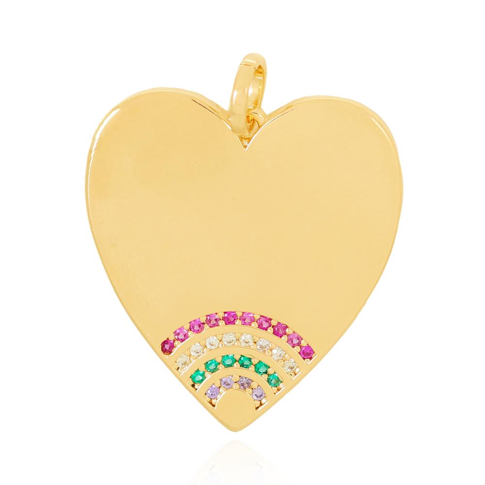 Pingente Coração Liso com Zircônias Coloridas na Ponta Semijoia Ouro 18K