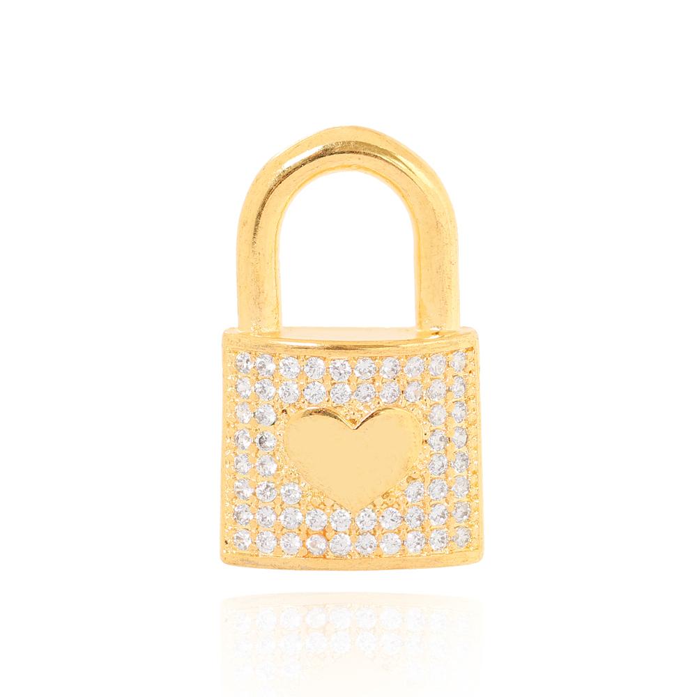 Pingente Folheado Ouro 18K Cadeado com Micro Zircônia e Coração Liso no Centro
