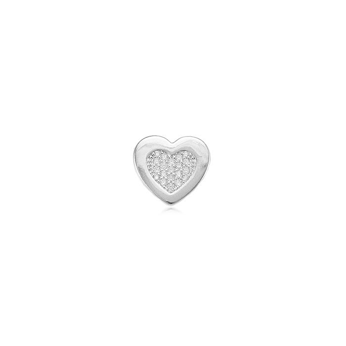 Pingente Folheado Ródio com Coração Micro Zircônia