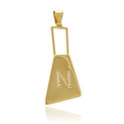 Pingente Letra Thássia Naves Folheado Ouro 18K com Micro Zircônia