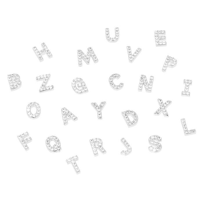 Pingente Relicário Folheado Ródio Letras com Micro Zircônia Cristal