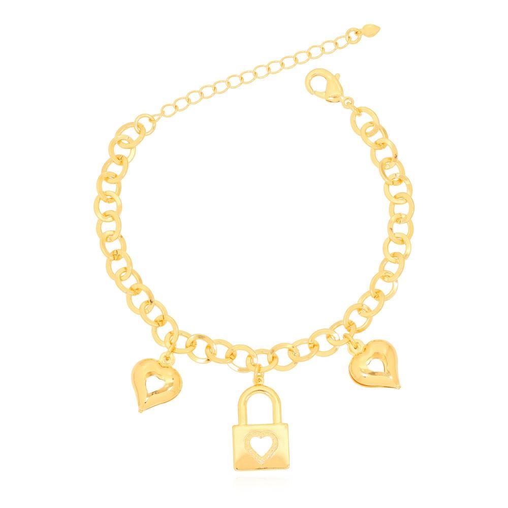 Pulseira Cadeado com Coração Folheado Ouro 18K e Corações Pendurados