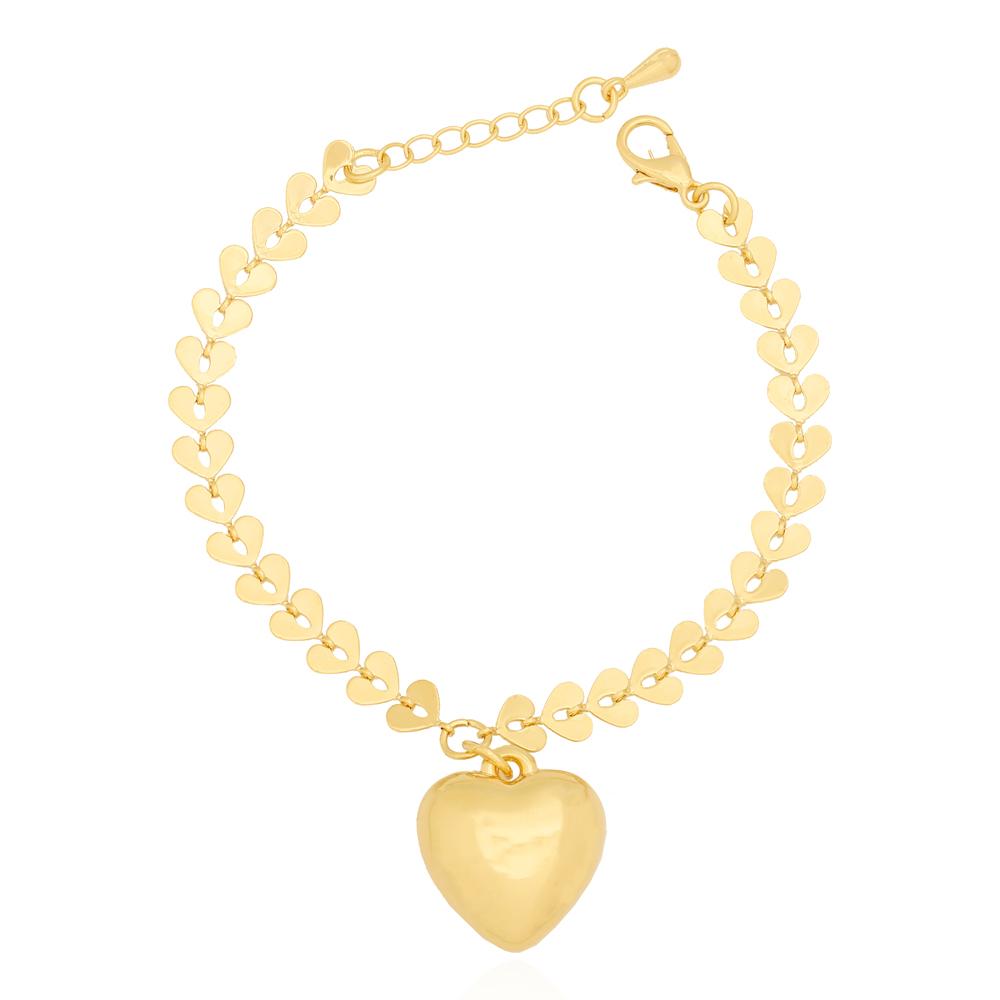 Pulseira Coração Chapa Lisa com Pingente de Coração Semijoia Ouro 18K