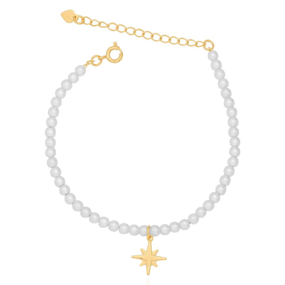 Pulseira de Pérolas com Estrelas Penduradas Folheado Ouro 18K