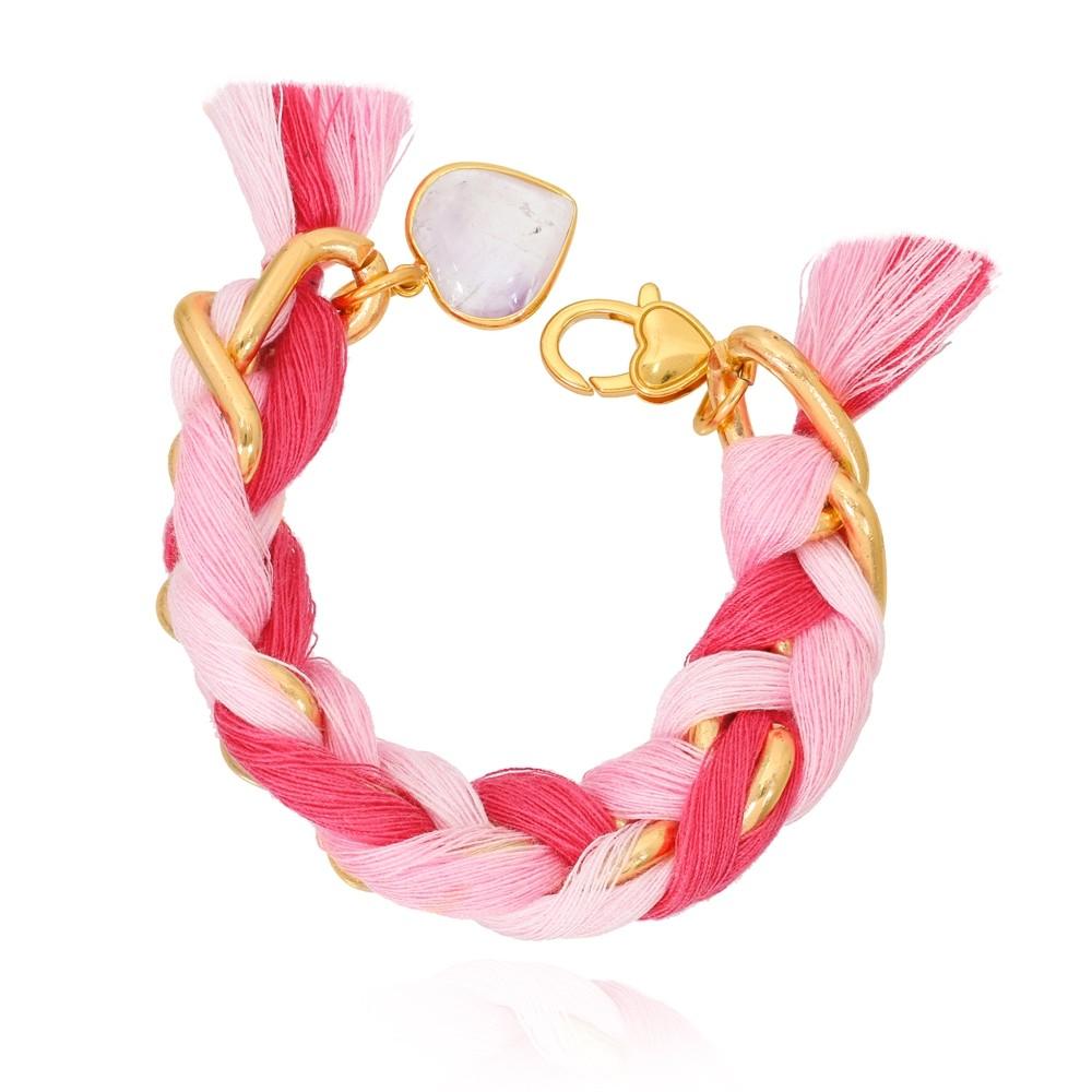 Pulseira Elos Ovais com Tecido Folheado Ouro 18K Trançado Pink e um Coração Pendurado