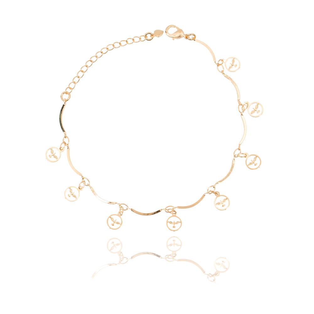 Pulseira Folheado Ouro 18K com Medalha de Espirito Santo Vazada