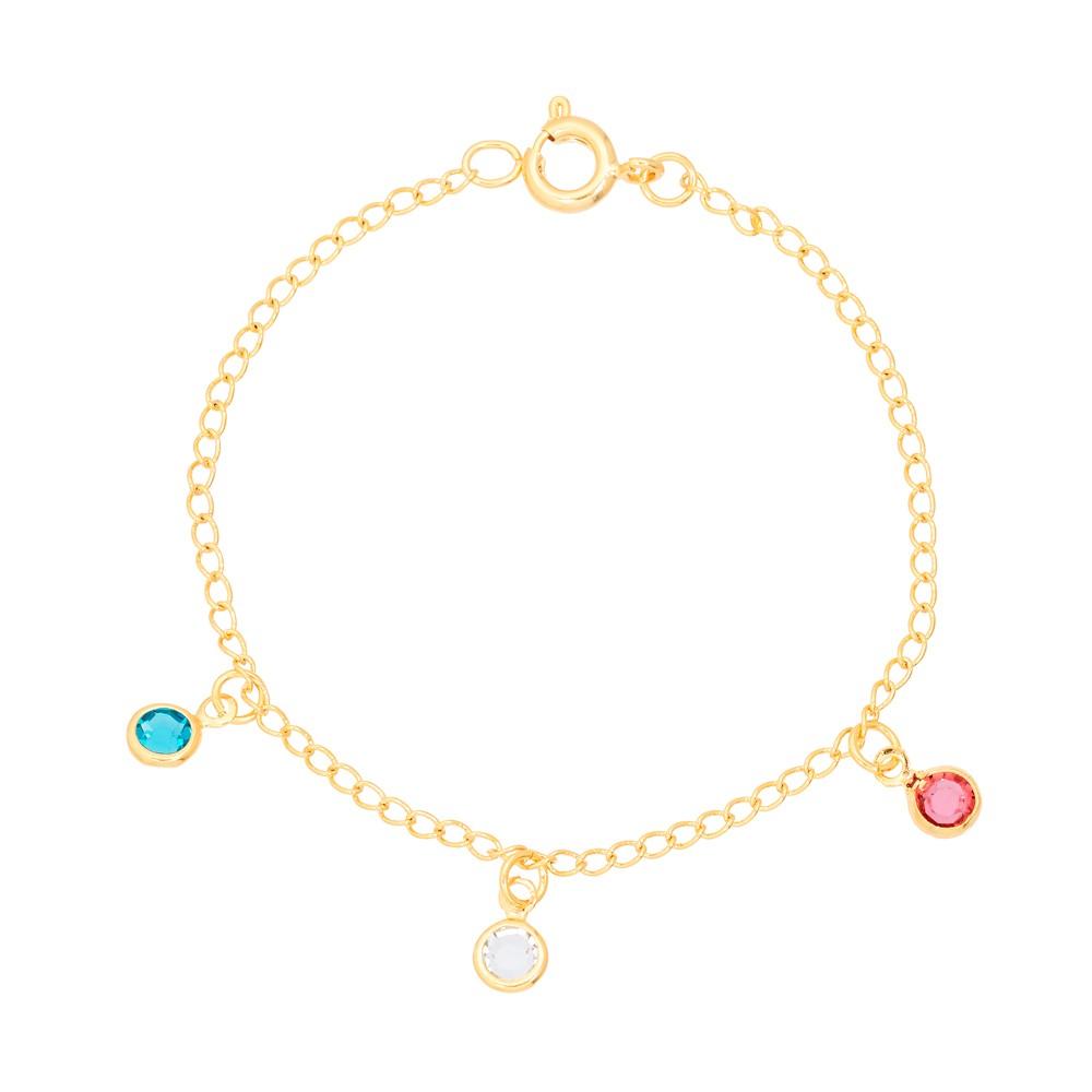 Pulseira Infantil Tiffany Folheado Ouro 18K com Zircônias Coloridas Penduradas