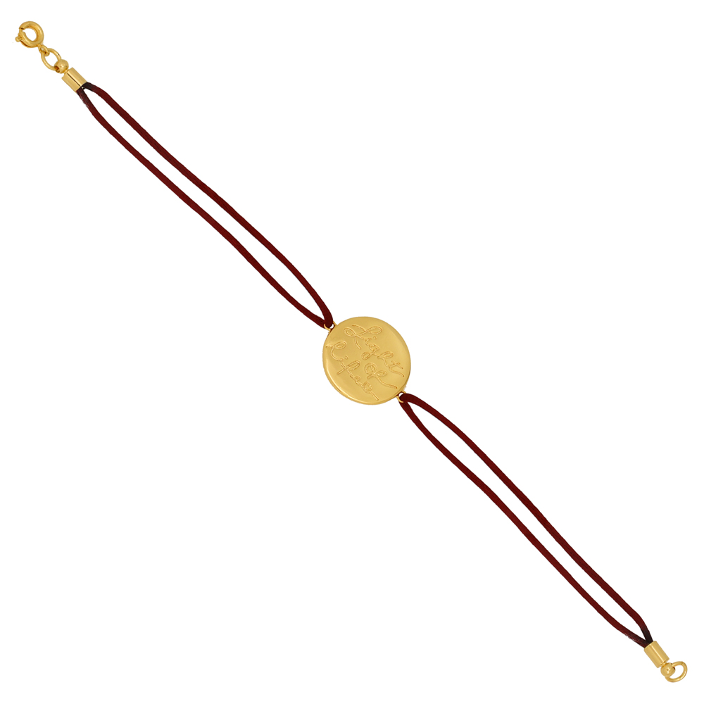 Pulseira Medalha Folheado Ouro 18K Light Of Life Fio de Seda Vermelho