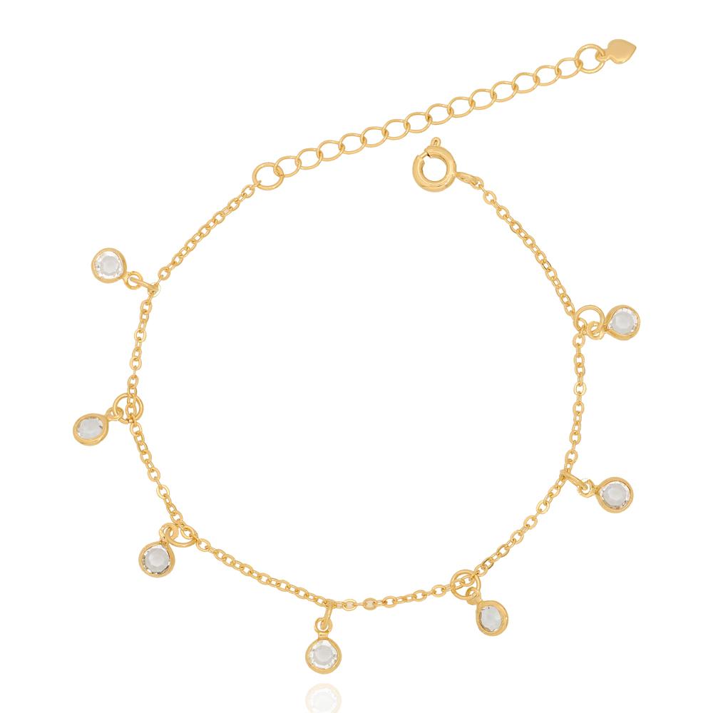 Pulseira Tiffany Cristais Pendurados Folheado Ouro 18K