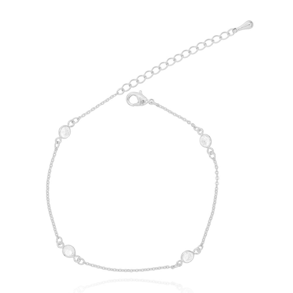 Pulseira Tiffany Zircônia Cristal Folheado Ródio