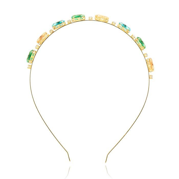 Tiara Folheado Ouro 18K com Cristal Oval Colorida