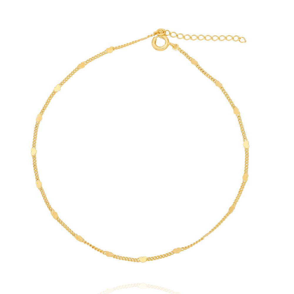 Tornozeleira com Detalhes de Coração na Corrente Folheado Ouro 18K