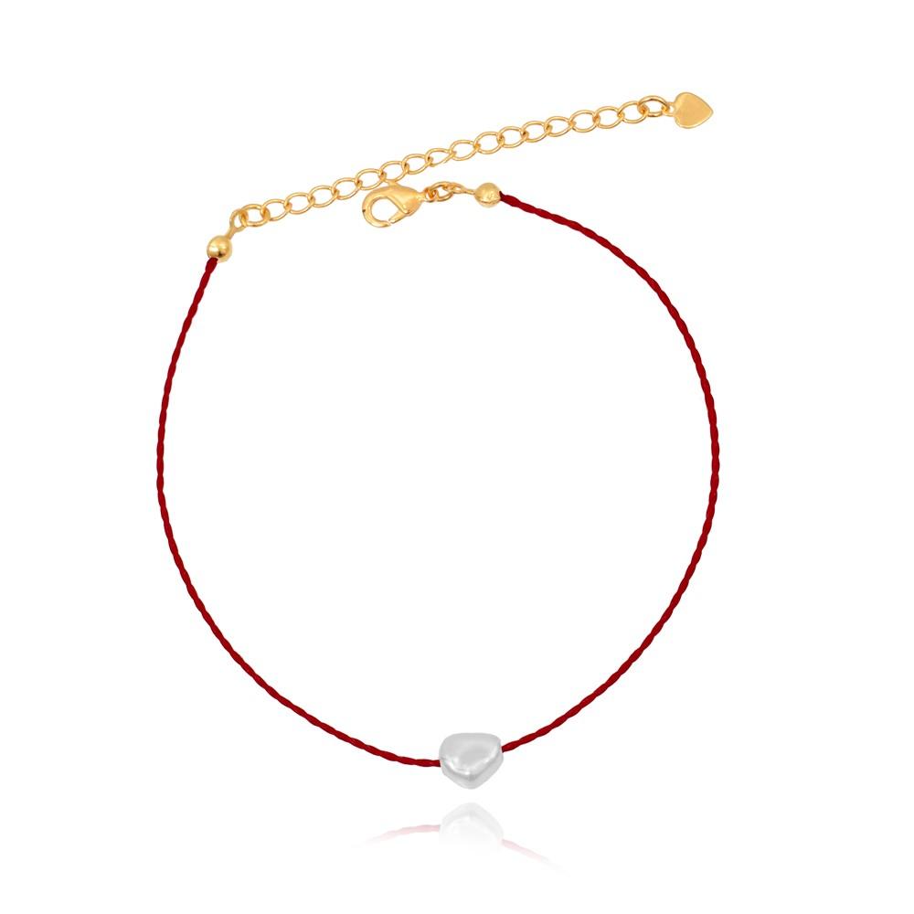 Tornozeleira Cordonê Vermelha  com Pérola Folheado Ouro 18K